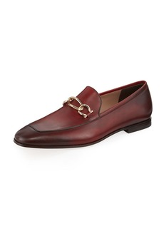 Ferragamo Men's Burnished Leather Loafer with Chain Bit