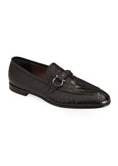 Salvatore Ferragamo Men's Croc-Embossed Leather Slip-Ons