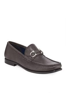 Salvatore Ferragamo Men's Crown Gancio-Bit Leather Loafers