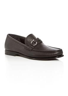 Salvatore Ferragamo Men's Crown Leather Moc Toe Loafers