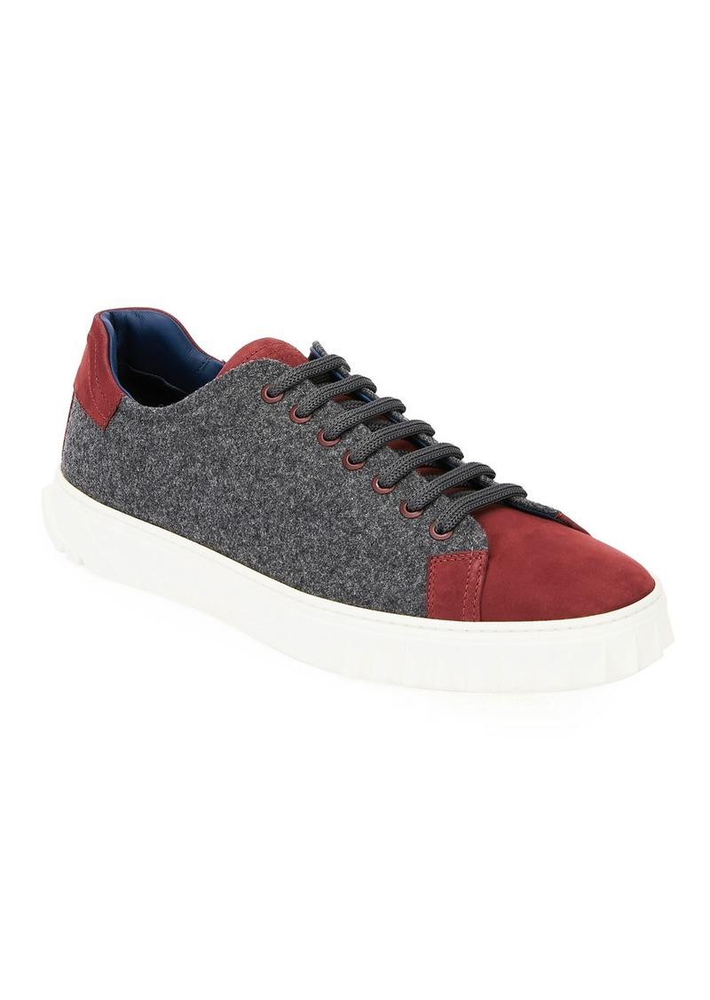 Salvatore Ferragamo Men's Cube 11 Wool Low-Top Sneakers