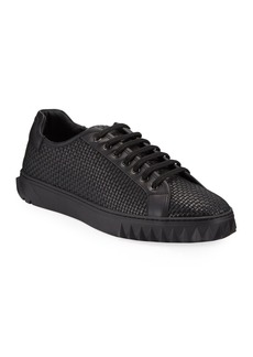 Salvatore Ferragamo Men's Cube 17 Low-Top Woven Leather Sneakers