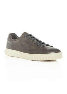 Salvatore Ferragamo Men's Cube Leather Low-Top Sneakers