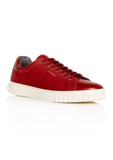 Salvatore Ferragamo Men's Cube Leather Low-Top Sneakers