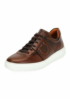 Salvatore Ferragamo Men's Cult 6 Burnished Leather Low-Top Sneaker