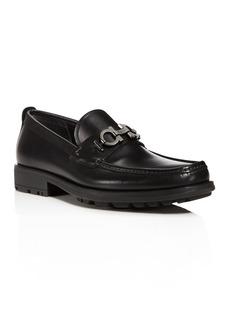 Salvatore Ferragamo Men's David Double Gancini Bit Thick Lug Leather Loafers