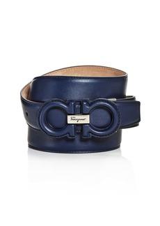 Salvatore Ferragamo Men's Double Gancini Buckle Leather Belt