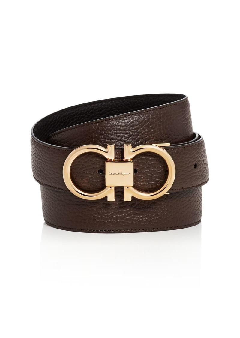 Salvatore Ferragamo Men's Double Gancini Buckle Reversible Leather Belt