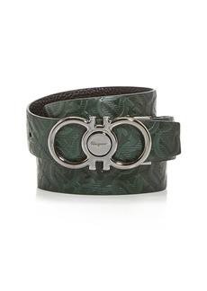 Salvatore Ferragamo Men's Double Gancini Embossed Leather Belt
