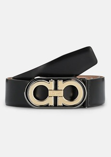 Salvatore Ferragamo Men's Double Gancini Flip-Buckle Leather Belt