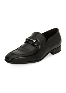 Salvatore Ferragamo Men's Gancini-Bit Leather Loafer  Black