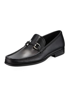 Salvatore Ferragamo Men's Gancini-Bit Leather Moccasin Loafers