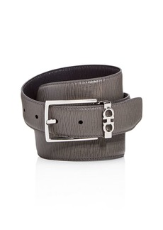 Salvatore Ferragamo Men's Gancini Keeper Reversible Textured Leather Belt