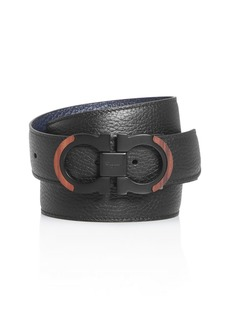 Salvatore Ferragamo Men's Gancini Reversible Wood Detail Belt