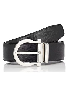 Salvatore Ferragamo Men's Gancio-Buckle Reversible Grained Leather Belt
