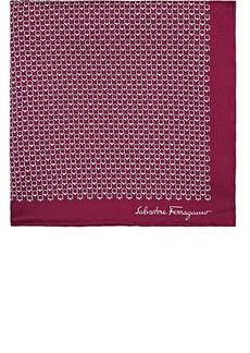 Salvatore Ferragamo Men's Gancio-Print Silk Pocket Square - Purple