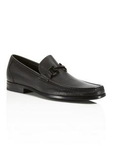 Salvatore Ferragamo Men's Grandioso Calfskin Leather Loafers with Double Gancini Bit