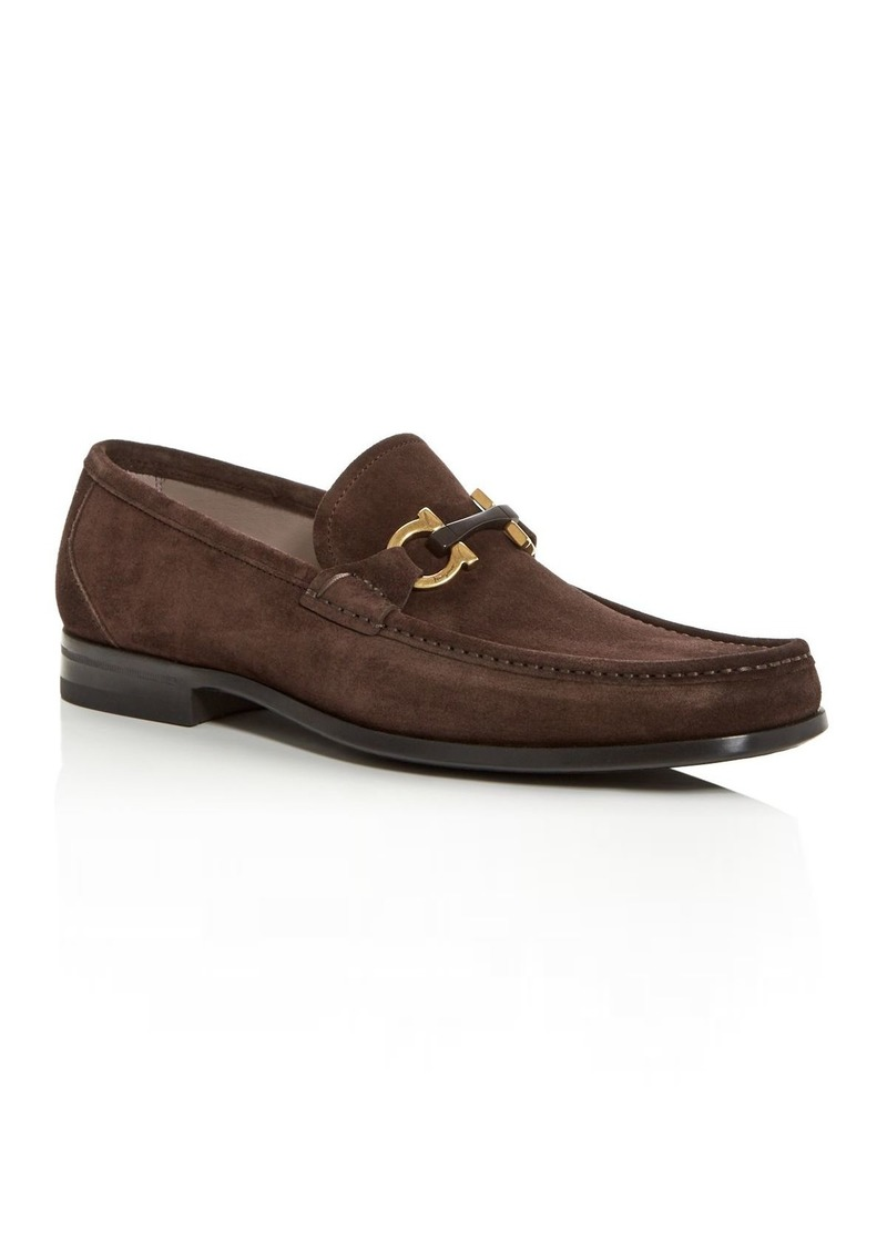 Salvatore Ferragamo Men's Grandioso Suede Apron-Toe Loafers