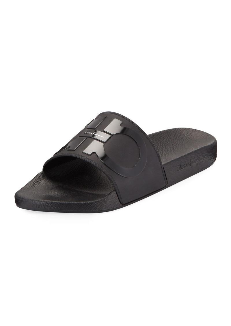 8c6055aef1650d Ferragamo Salvatore Ferragamo Men's Groove 2 Rubber Slide Sandals ...