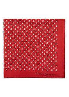 Salvatore Ferragamo Men's Insect-Motif Silk Twill Pocket Square - Red