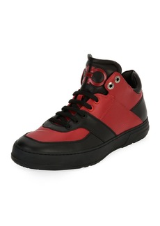 Ferragamo Men's Leather Mid-Top Sneakers
