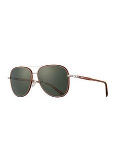Salvatore Ferragamo Men's Metal Double-Gancio Aviator Sunglasses