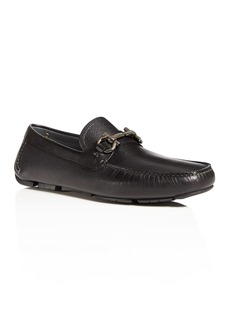 Salvatore Ferragamo Men's Parigi Double Gancini Bit Pebbled Leather Loafers