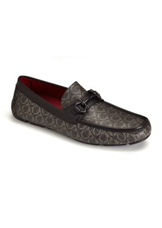 Salvatore Ferragamo Men's Parigi Logo Coated Canvas Drivers