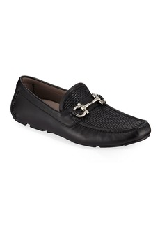 Salvatore Ferragamo Men's Parigi Woven Leather Gancini Drivers
