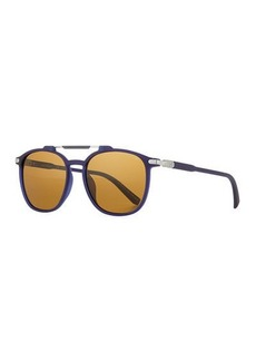 Ferragamo Men's Polarized Double-Bridge Square Sunglasses
