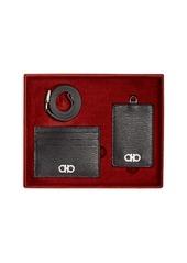Salvatore Ferragamo Men's Revival Gancio Leather Lanyard & Card Case Gift Set