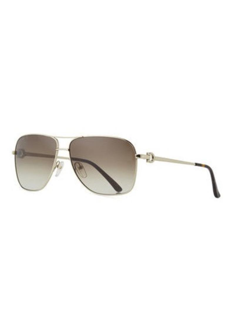 Ferragamo Men's Signature Metal Navigator Sunglasses