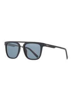 Ferragamo Men's Square Double-Bridge Sunglasses
