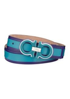 Salvatore Ferragamo Men's Striped Calfskin Belt