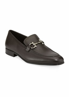 Salvatore Ferragamo Men's Textured Calfskin Gancini Loafer  Brown
