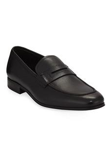 Salvatore Ferragamo Men's Textured Calfskin Penny Loafer  Black