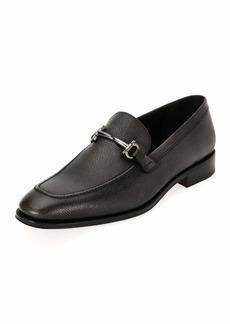 Salvatore Ferragamo Men's Textured Leather Gancini-Bit Loafer