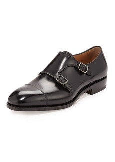 Salvatore Ferragamo Men's Tramezza Calfskin Double-Monk Shoe  Black