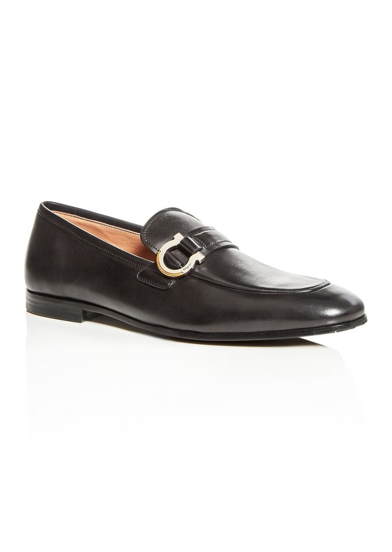 Salvatore Ferragamo Men's Tweed Leather Apron-Toe Loafers