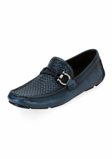 Ferragamo Men's Woven Leather Gancio Driver