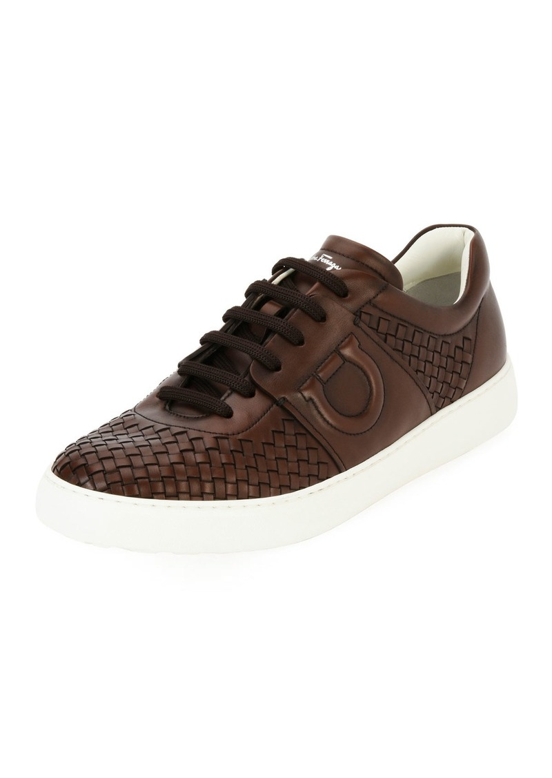 Salvatore Ferragamo Men's Woven Leather Low-Top Sneakers  Medium Brown