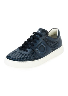 Salvatore Ferragamo Men's Woven Leather Low-Top Sneakers  Sunset Blue (Indigo)