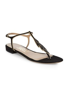 Ferragamo Milli Embellished Flat Leather Sandals