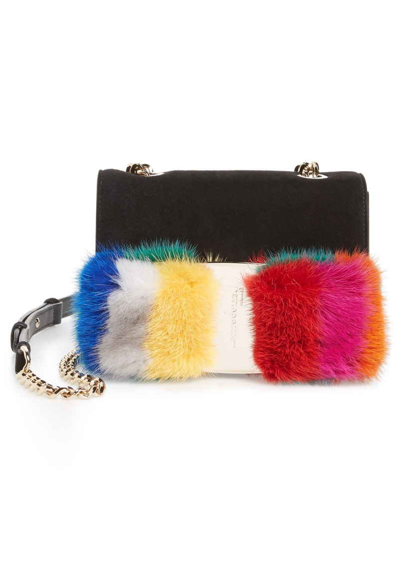 Ferragamo Salvatore Ferragamo Mini Vara Genuine Mink Fur Crossbody ... b12223b0f3493