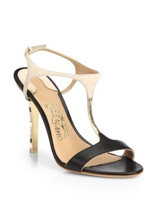 Ferragamo Monroe Snake-Embossed Leather T-Strap Sandals