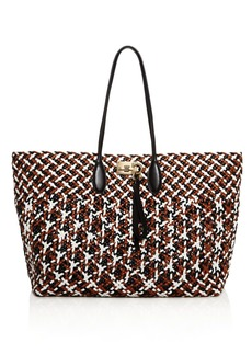 Salvatore Ferragamo Multicolored Woven Leather Studio Tote