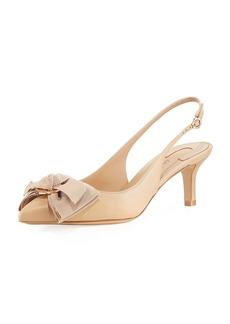 Salvatore Ferragamo Laterina Napa Leather Flower-Bow Slingback Pump