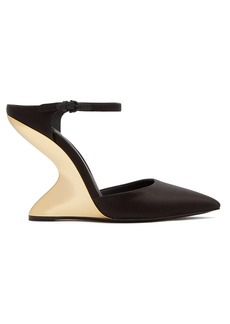 Salvatore Ferragamo Naturno satin wedge mules