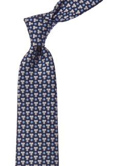Salvatore Ferragamo Navy Elephants Silk Tie