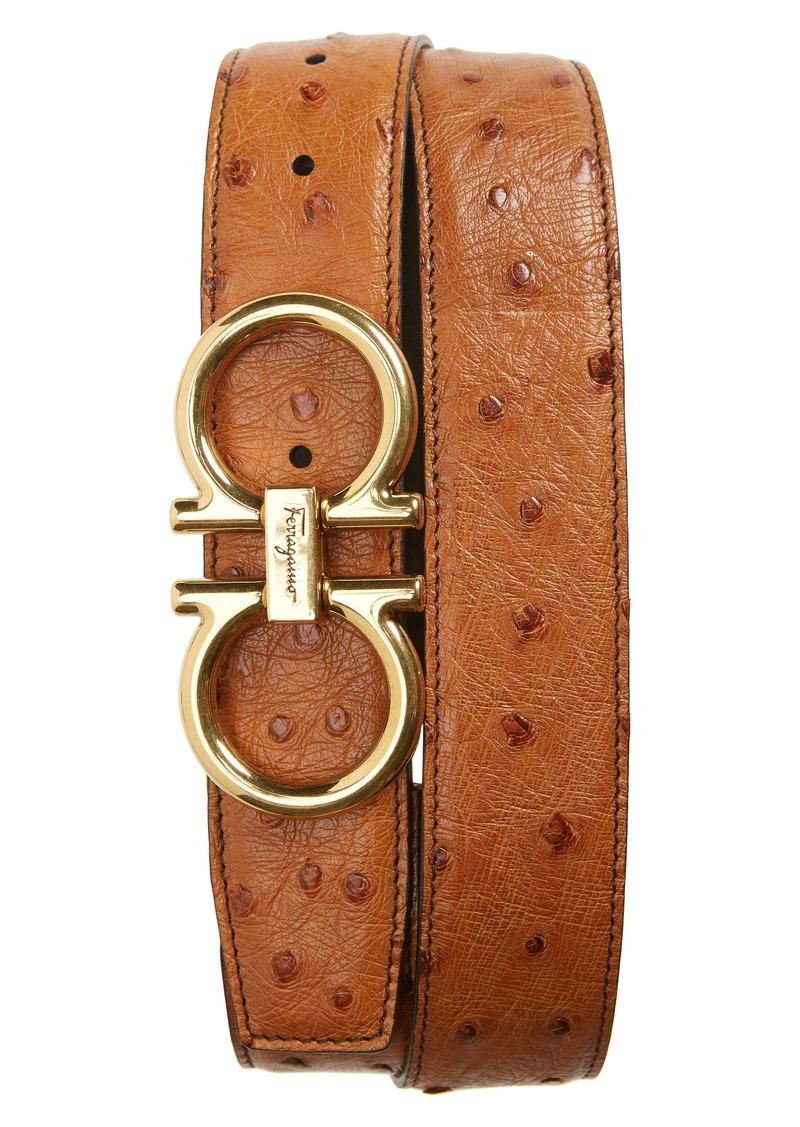 Salvatore Ferragamo Ostrich Leather Belt